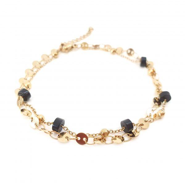 pulseira dupla stone black gold